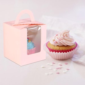 50Pcs Cake Boxes Creative White Card Practical Portable Muffin Box Cake Boxes Cupcake Packing Box for Store Party