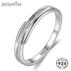 Jellystory 925 فضة الأزياء حزام بسيط للمرأة الجميلة مجوهرات خواتم لحضور حفل زفاف الاشتباك الذكرى حزب هدية