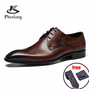 Phenkang Men Italian Oxford Wingtip Genuine Leather Shoes Pointed Toe Lace-Up Oxford Dress Brogues Wedding Platform Shoes