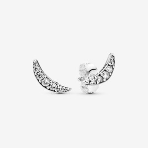 925 Sterling Silver Stincling Crescent Crescent Moon Boucles d'oreilles Pave Cubic Zircone Mode Femmes De Mariage Engagement Bijoux Accessoires pour cadeau