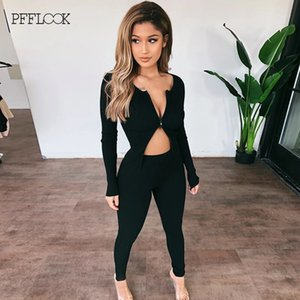 PFFLOOK Autumn Black Sexy Knitted Two Piece Set Long Sleeve Crop Top Long Pants Slim Matching Set Slim V Neck 2 Piece Set Women T200903