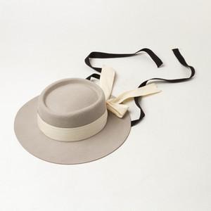 Enfants laine anneau de feutre Fille large Brim Floopy Cap Enfants Accessoires Kid Felt filles chapeau plat arcs ribbon grand bonnet de laine A4182