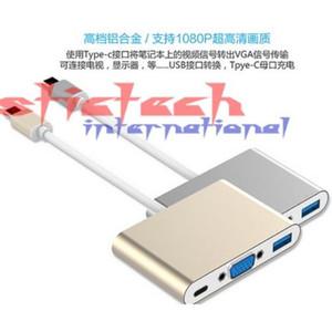 по DHL или EMS 20pcs 3 в 1 USB 3.1 Type C к VGA + 3.0 Женский Кабель преобразователя Адаптер для Apple, Macbookfor HDTV