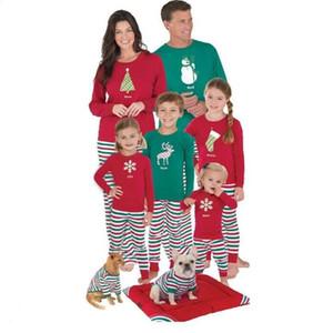 Navidad padres e hijos la vestimenta del niño raya Impreso pijamas Top Pantalones Conjunto de adulto La Navidad de manga larga Tops Pantalones Pijamas DHF1045