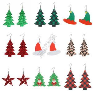 D9209 joyería Pendientes Pendientes de gotas de agua Mujeres PU Los diseñadores del árbol de Navidad de Bell sombrero de la Navidad del lunar de cabeza de los ciervos pendientes de gota largos