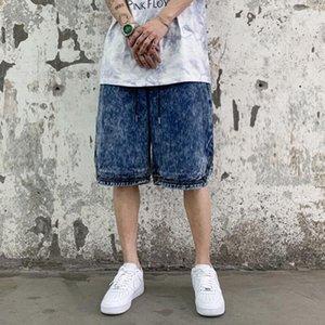 Harajuku Омывается ретро Сыпучие Drawstring Джинсы Шорты Streetwear Негабаритные Ripped Hip Hop пятибалльной Брюки Mens