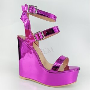 LAIGZEM Women Sandals Platform Wedges Heels Sandals Shiny Purple Shoes Woman Casual Sexy Sandalia Zapato Large Size 50 51 52 0925