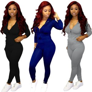 Designer Women Jumpsuit Sexy Solid Color Front Zipper Body Shaping Long Sleeve Rompers Ladies Casual Onesies 816