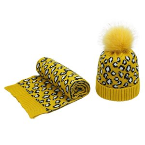 Women Winter Vintage Leopard Knitted Pompom Cuff Beanie Hat and Scarf Shawl Set D08E
