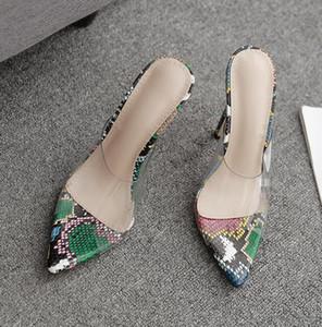 Простого женского Fashionn Прозрачного Clear Heels Мулы дизайн сандалия Зеленая змея печать ПВХ Лоскутных шпильки