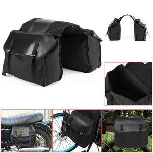 Мотоцикл Side Saddle Bag Водонепроницаемого Pannier пакет Камера сумка черный 38 * 13 * 28см Backseat Saddle Bag Магистральной багажа Motor
