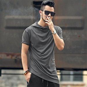 Men new summer casual cotton irregular length hooded T-shirt slim metrosexual men hip hop European style grey hat t shirt T366 0924