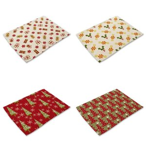40*30cm Christmas Series Placemat Flax Table Mat Anti-scalding Pad DIY Kitchen Decoration Xmas Home Textile