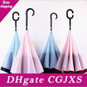 Dots reverso do guarda-chuva à prova de vento reverso Folding Double Layer invertido Umbrella Stand Chuva Protecção C -Gancho J -Gancho chuvas Ooa2132