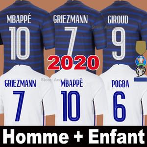 2020 년 축구 유니폼 MBAPPE GRIEZMANN KANTE POGBA 100 타이츠 드 발 EURO CUP 2021 20 21 남자 아이 키트 세트 축구 셔츠 유니폼