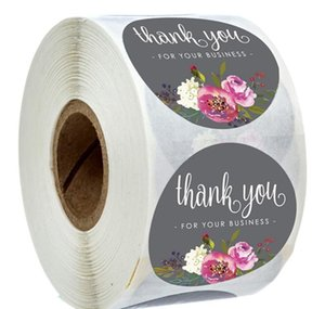 Thank Stickers Handmade Invitation Coated Craft Paper Card Stickers Envelope Seal You Label Stickers Floral You Thank Roll xhhair MKPAg