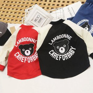 Children Long-sleeved Coat Kids Cartoon Personality Color Block Print Jackets Boys Girls Fashion Bear and Letter Print Baseball Uniforms