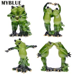 MYBLUE Kawaii Garden Animal Resin Couple Lovers Frog Wedding Figurine Miniatures Nordic Home Room Decoration Accessories Gift