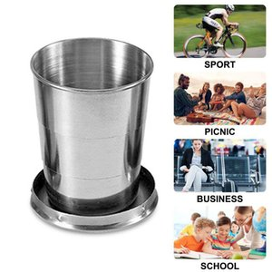 Stainless Steel Folding Cup With Keychain Portable Telescopic Collapsible Cups Outdoor Water Drinking Cup DHL