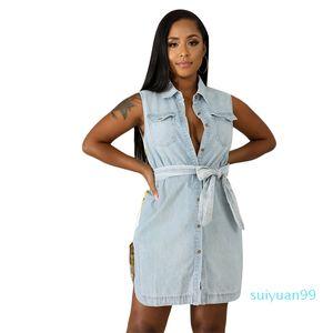 Hot Sale Flora Printed Fashion Sleeveless Summer Shirt Dress With Belt Ladies Casual Denim Skirt Womens Designer Dresses