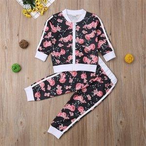 Imcute 2-7T muchachas de los niños Imcute cremallera de cierre floral del chándal Playsuit Outwear pulóver sudadera chaqueta y pantalones largos Equipos