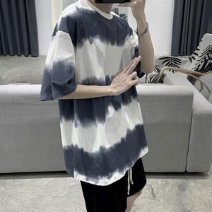 Summer new loose Stripe Tie Dye short sleeve T-shirt Pullover T-shirt