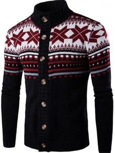 Stehkragen Männer Kleidung Blumen-Druck-Herren Designer Pullover Mode Panelled Einreiher Männer Pullover Gelegenheits