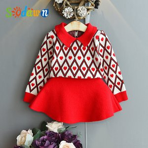 Sodawn Girls Knitting Set 2020 Autumn Winter New Kids Love Pullover Bottoming Shirt +Knitted Skirt 2pcs Outfits X0923