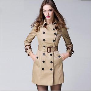 fodera a strisce classico delle donne di moda Inghilterra Medio Lungo Trench Designer britannico Doppio Petto Slim con cintura Trench pelle bovina
