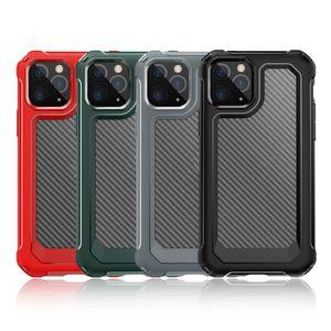 ألياف الكربون صدمات الهاتف المحمول حالة حماية قذيفة لفون XS 11 برو ماكس XR 6 7 8 زائد كريستال أكياس الهاتف المحمول شفافة