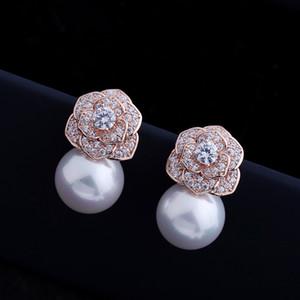 2020 micro incrusté zircons boucles d'oreilles tempérament femmes bijoux coréens de mode boucles d'oreilles perle luxe camélia marque haut de gamme cadeaux sauvages boucles d'oreille