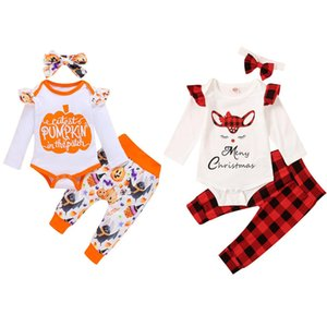 Baby Girls Clothes Sets Infant Letter Romper Plaid Pants Headband 3pcs Set Pumpkin Toddler Girl Outfits Halloween Christmas Clothing DW5948