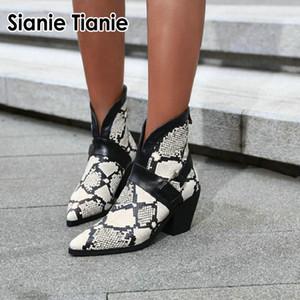 Sianie Tianie 2020 primavera stivali invernali donne sexy etica del plaid serpente di stampa V taglio tacchi alti pattini della donna caviglia femme formato 33-46