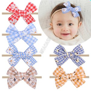 Baby Girls Designers Hairpin Plaid Daisy Tournesol Bandeaux Head Band INS du nouveau-né Big Band Hair Bows Headwrap Accessoires cheveux D9309