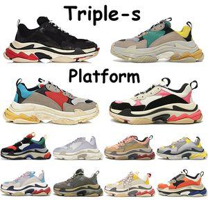 트리플의 남성 패션 캐주얼 신발 플랫폼 스니커즈 베이지 그린 옐로우 그레이 블랙 화이트 실버 레드 블루 로즈 골드 멀티 컬러 여성 신발