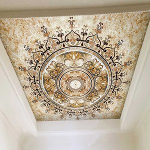 European Style Golden Pattern Wallpaper 3D Luxury Marble Photo Wall Mural Hotel Living Room Ceiling Luxury Wall Painting Fresco
