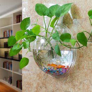 Limpar Hanging vidro transparente vaso de planta Air parede de vidro Terrário parede do tanque de peixes da bolha Terrário para decoração home da parede
