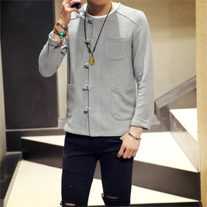 Sinicism dropshipping Store Cotton Linen Men Shirts Long Sleeve Solid Color Stand Collar Chinese Clothes Male Casual Shirts X0923 X0923