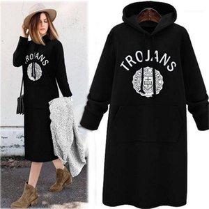 Casual Designer femmine Abbigliamento Lettera Stampa Womens rivestite grande tasca vestiti delle donne incappucciate Abiti casual moda