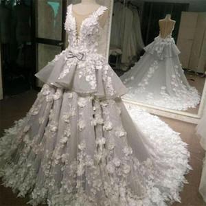 Custom Made A Line Wedding Dresses with 3D Floral Appliques Sheer Back Elegant Bridal Gowns 2021 New Peplum Robes De Mariée