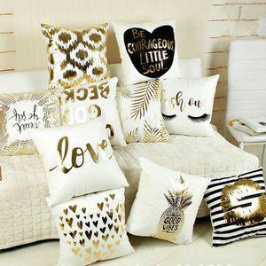 Pillowcase letter flannel bronzing heart printing pillowcase sofa cushion cover car pillowcase home decoration 17 kinds