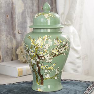 Jingdezhen ceramica Temple vaso grande vaso vaso bagagli Soggiorno morbida decorazioni prugna fiore verde colorato vaso della porcellana smalto