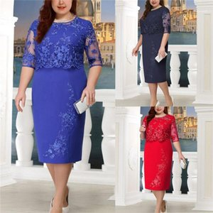 Günlük A Hattı Elbiseler Kadın Plus Size Katı Renk Elbise Patchwork Dantel Çiçek Elbiseler O Boyun Kadın Desinger Kısa Kollu