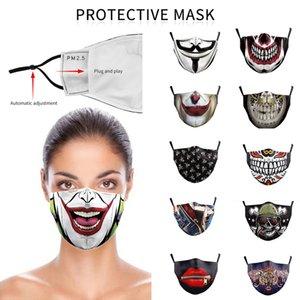 الأزياء قناع الوجه الجمجمة قابلة لإعادة الاستخدام 3D الرسم القرع التجهم القطن قناع الوجه القابل لإعادة الاستخدام واقية PM2.5 الكربون فلاتر أقنعة الوجه قابل للغسل