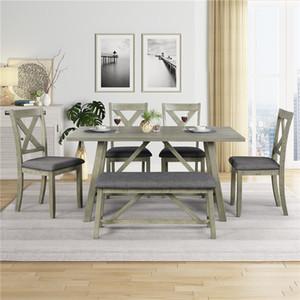 Table de salle à manger 6 pièces grise 6 pièces Ensemble de table à manger en bois et chaise de cuisine ensembles de table avec table, banc et 4 chaises, style rustique SH000109AAE