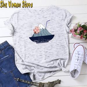 Hillbilly 2020 nuevas camisetas para mujer Japón Monte Fuji Bebida Impresión delgada ocasional del ajuste de manga corta camiseta divertida camiseta unisex divertidos