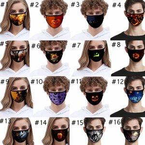 Halloween-Gesichtsmaske Art und Weise 3D gedruckt Kürbis Spinne Elect Cotton Gesichtsmasken Antistaub Waschbar Weihnachten Festliche Partei EEA1909