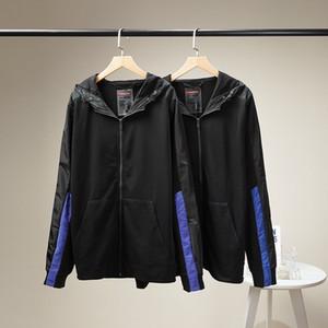 가을은 폴리 에스테르 섬유 고전 재킷 크기 48-54 바느질 후드 패션 힙합 스트레치 니트 코튼 원단 소매 망