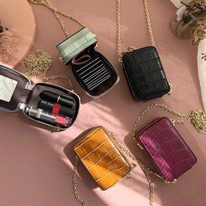 RAZALY cuero auténtico WOC monederos y los bolsos del bolso pequeño colgajo tarjeta Mini Con Espejo mujeres bolsos de cadena de embrague 1Mix #