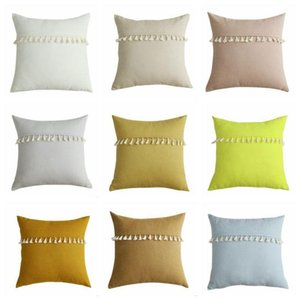 Pillow Case Solid Candy Pillowcases Tassel Lace Lint Pillow Covers Home Decorative Cushion Cover Office Sofa Vintage Pillowcase Mat
